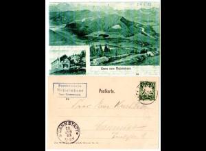 Bayern 1903, Posthilfstelle WEITALMHAUS Taxe Unterwessen auf sw-AK m. 5 Pf.