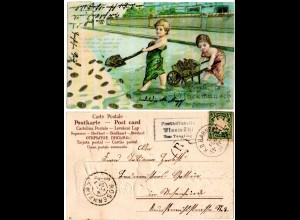 Bayern 1906, Posthilfstelle WIESMÜHL Taxe Tengling auf Glückwunsch-AK m. 5 Pf.