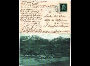 Bayern 1912, Posthilfstelle VACHENDORF Taxe Bergen auf sw-AK m. 5 Pf.