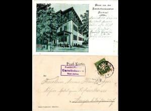 Bayern 1903, Posthilfstelle UMRATHSHAUSEN Taxe Aschau auf sw-AK m. 5 Pf.