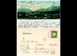 Bayern 1904, Reservestempel TEISENDORF R auf Farb-AK m. 5 Pf.