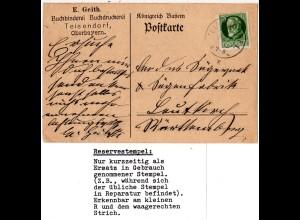 Bayern 1915, Reservestempel TEISENDORF R auf Firmen Karte m. 5 Pf.