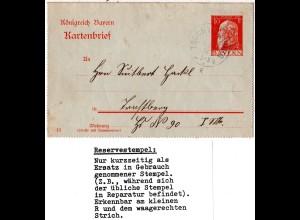 Bayern 1913, Reservestempel TRUCHTLACHING R auf 10 Pf. Kartenbrief