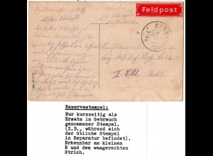 Bayern 1917, Reservestempel BERNAU (OBB) R auf Feldpost Karte v. Hittenkirchen