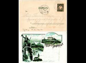 Bayern 1896, Postablage-K1 HOCHFELLNHAUS auf Litho-AK m. 5 Pf. (Sem 175.-)