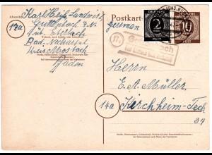 1947, Landpost Stpl. 17a GUTTENBACH über Eberbach auf 10 Pf. Ganzsache m. Zusatz