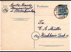 1947, Landpost Stpl. 17a HERGENSTADT über Osterburken auf 12 Pf. Ganzsache