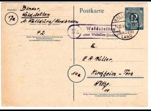 1946, Landpost Stpl. 17a WALDSTETTEN über Walldürn auf 12 Pf. Ganzsache