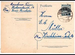 1946, Landpost Stpl. 17a HOHENSTADT über Osterburken auf 12 Pf. Ganzsache