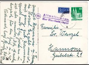 1950, Landpost Stpl. 20 b ALTWALLMODEN über Ringelheim auf Karte m. 10 Pf.
