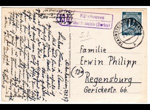 1947, Landpost Stpl. 13 b KÜHNHAUSEN über Traunstein auf Karte m. 12 Pf.