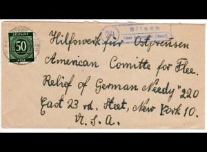 1947, Landpost Stpl. 24 BILSEN über Barmstedt auf Brief m. 50 Pf. n. USA