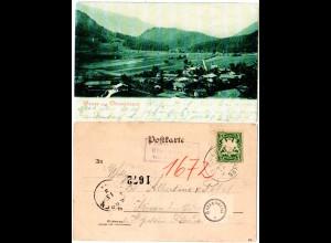 Bayern 1901, Posthilfstelle OBERWESSEN Taxe Unterwessen auf AK m. 5 Pf
