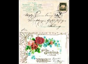 Bayern 1903, Posthilfstelle UNTERTACHING Taxe Waging auf Präge-AK m. 5 Pf.