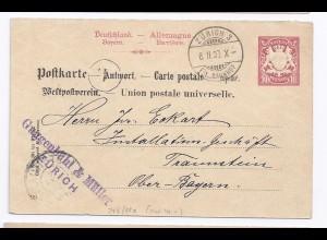 Schweiz Bayern 1903, Brief Stpl Zürich a.Ganzsache Antwortteil n.Traunstein #421