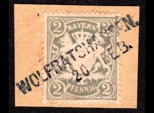 Bayern, L2-Aushilfstempel WOLFRATSHAUSEN klar auf Briefstück m. 2 Pf.