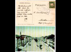 Bayern 1907, Posthilfstelle FRIDOLFING Bhf. Taxe Fridolfing auf AK m. 5 Pf.
