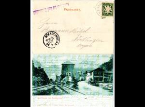 Bayern 1901, L1 Hallthurm bei Bad Reichenhall auf AK m. 5 Pf. u. Bahnpost Stpl.