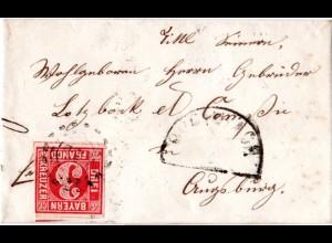 Bayern 1857, oMR 790 BUCHBACH auf Brief m. 3 Kr. v. Ranoldsberg n. Augsburg