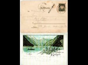 Bayern 1893, Stationsstpl. L1 BERCHTESGADEN auf Litho-AK m. Bahnpost-K1 B-R