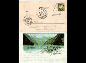 Bayern 1891, Stationsstpl. L1 BERCHTESGADEN auf Litho-AK m. Bahnpost-K1 B-R CII