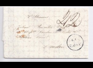 "Spanien GB 1844, brit. consular office ""B.C.CADIZ"", Porto Brief n. London. #193"