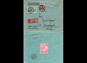 DR 1920, 35 Pf.+1,25 Mk. auf Einschreiben Brief v. Colditz n. Norwegen