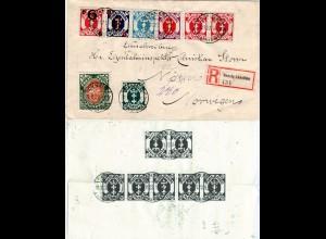 Danzig 1922, 15 Marken vorder- u. rückseitig auf Einschreiben Brief n. Norwegen