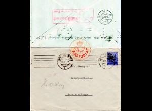 SBZ 1948, 50 Pf. auf Brief v. Chemnitz m. Norwegen POSTOBLAT Verschluss-Etikett