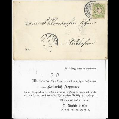 Bayern 1888, 3 Pf. A-Zähnung auf AVIS Karte v. Nürnberg n. Vilshofen. #2828