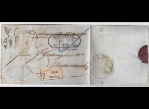 Bayern Österreich 1868, Paket Begleit Brief v. Nürnberg n. Bodenbach. #1455