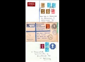 GB, 3 Briefe n. Deutschland m. Elizabeth Frankaturen. Dabei Reko u. Express