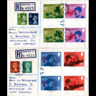 GB 1975, 4 Stegpaare 100 J. Telefon auf 2 Einschreiben Briefen n. Deutschland