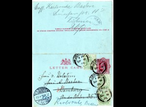 GB 1906, 3x 1/2d added on 1d lettercard from JERSEY to Germany.
