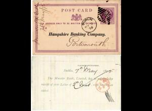 GB Irland 1875, 1/2d Ganzsache v. Dublin m. Zudruck Hampshire u. Munster Bank