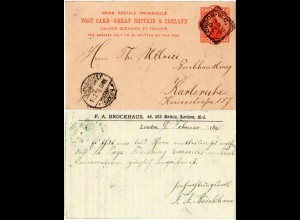 GB Irland 1893, 1d Ganzsache klar gestempelt v. Dublin n. Deutschland.