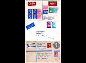 GB, 3 Auslands-Briefe m. Elizabeth Frankaturen, dabei Relo, Express, Luftpost.