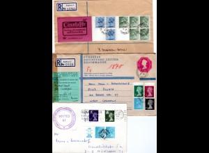 GB, 3 Briefe m. Elizabeth Zusammendrucken, dabei 1mal m. ESSO Werbefeld