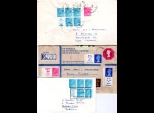GB, 3 Briefe m. Elizabeth Zusammendrucken, dabei 5 Werbefelder.