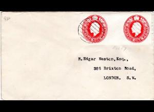 GB, 1+1d Ganzsachenausschnitt auf Brief m. Strichstempel
