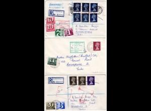 GB, 3 Briefe m. Portomarken, dabei Reko u. Express