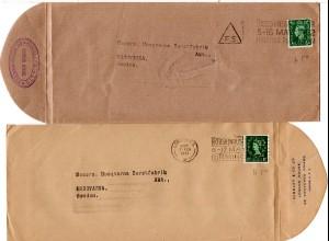 GB, 2mal 1/2d m. perfin Firmenlochung auf 2 Briefen v. London n. Schweden.