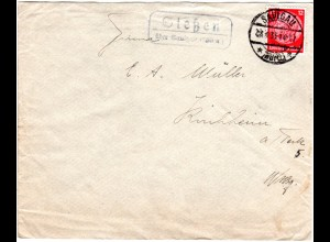 DR 1935, Landpost Stpl. SIESSEN über Saulgau auf Brief m. 12 Pf.
