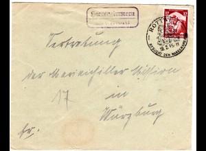 DR 1935, Landpost Stpl. HERRENZIMMERN über Rottweil auf Brief m. 12 Pf.