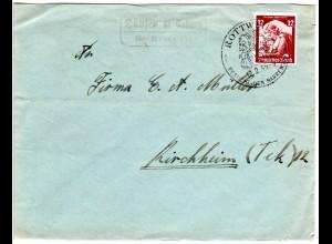 DR 1935, Landpost Stpl. HAUSEN OB ROTTWEIL über Rottweil auf Brief m. 12 Pf.