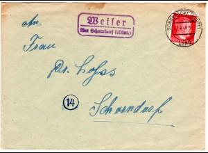 DR 1944, Landpost Stpl. WEILER über Schorndorf auf Brief m. 12 Pf.