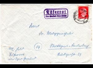 DR 1944, Landpost Stpl. TÄFERROT über Gmünd (Schwäbisch) auf Brief m. 12 Pf.