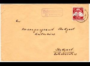 DR 1935, Landpost Stpl. BEBENHAUSEN über Tübingen auf Brief m. 12 Pf.