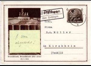 DR 1934, Landpost Stpl. WESSINGEN über Hechingen auf 6 Pf. Ganzsache