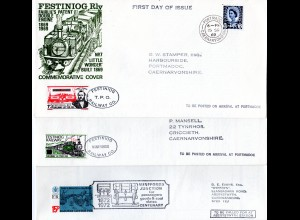 GB, 3 Festinog Railway stamps on 3 covers with interesting contents